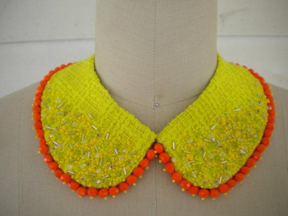 Hand beaded bright yellow and orange peter pan collar by Eyefulll, $75.00