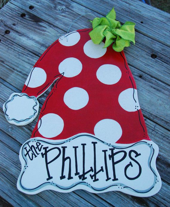 Personalized Wooden Santa Hat Door Hanger by NeedmoreHeart on Etsy, $32.00