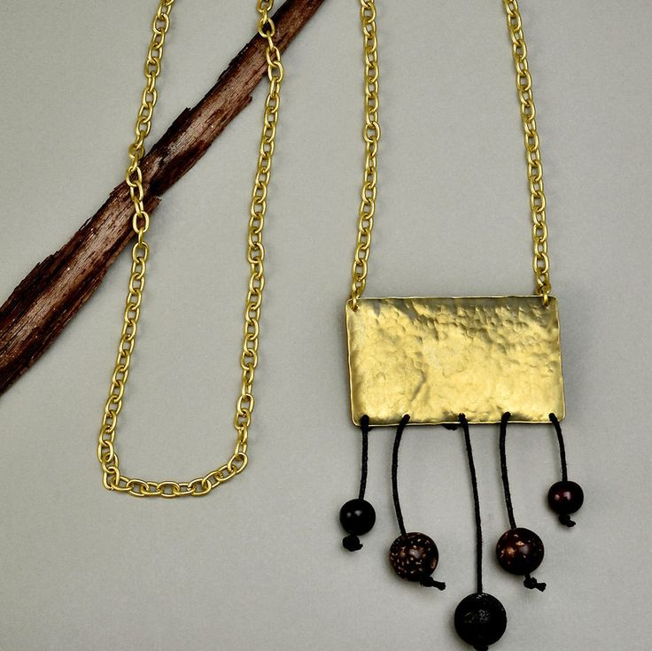 Long brass chain pendant necklace with hammered rectangle, chunky gold hammered rectangle necklace, brown and black beads long necklace by ColorLatinoJewelry on Etsy