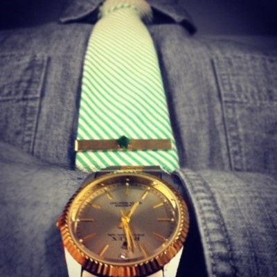 Throwback Thursday at the office. 3rd generation gold & emerald tie clip. Top it off with a vintage Rolex.