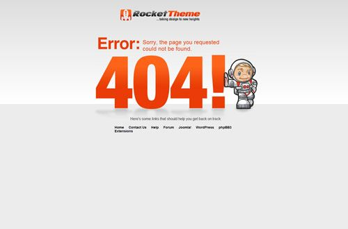 404 Error Page Design | Rocket theme  http://www.rockettheme.com/404#