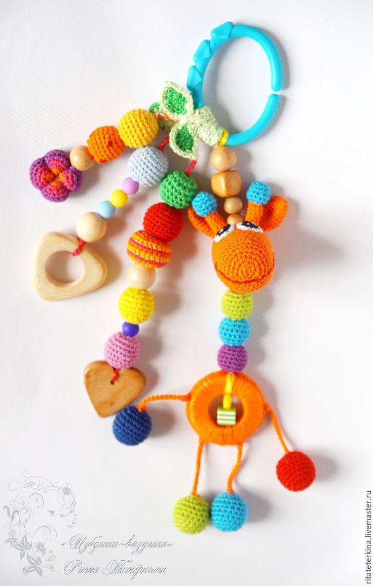 "Купить слингоигрушка погремушка ""Жирафик"" - слингоигрушки вязаные, слингоигрушка, жираф, слингобусы с игрушкой,…"