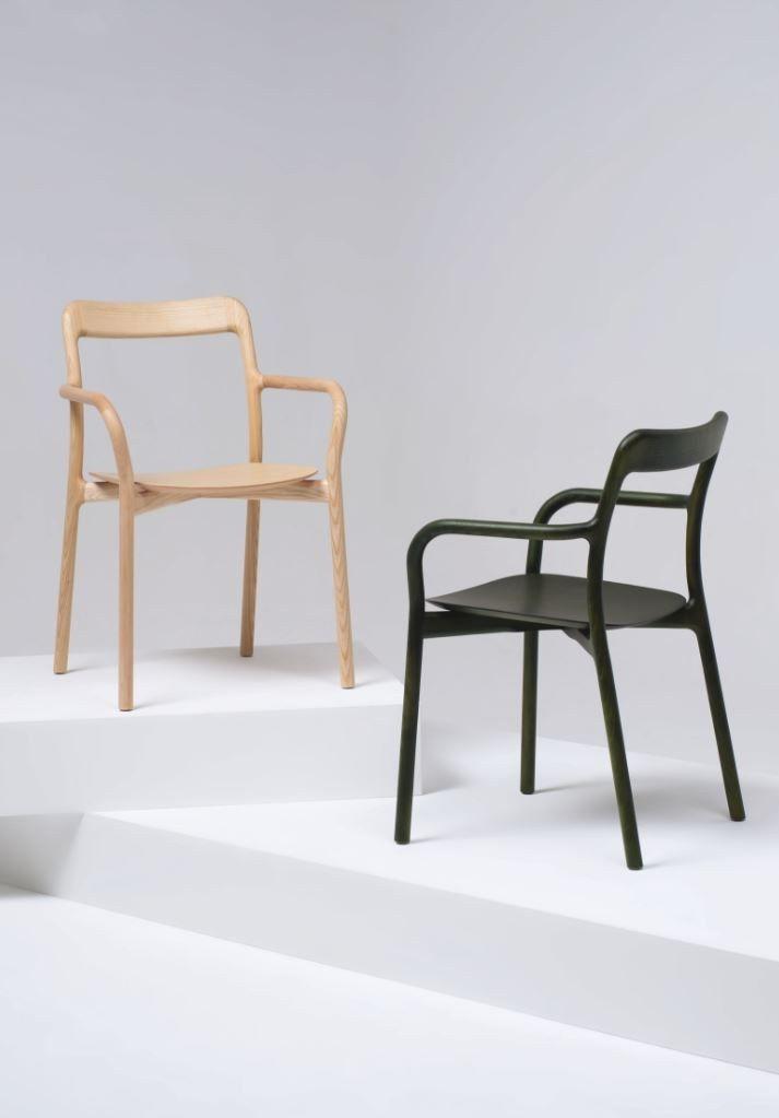 Stackable wooden #chair with armrests BRANCA by Mattiazzi | #design Sam Hecht #wood @MattiazziSrl