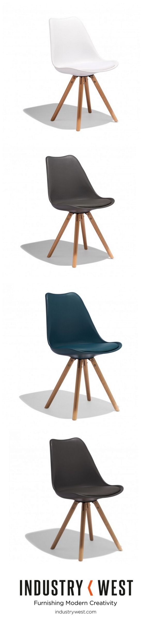 The Taka Side Chair is a new exploration of our expansion of the Lucia Collection that features solid beech mid century inspired bases with the classic tulip molded seat. The Taka Chair features a padded seat of split leather perfect for comfort and durability.