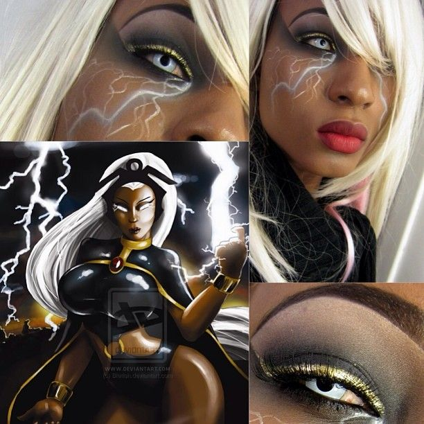 Storm X-Men SFX makeup idea. / Paired with All-white FX contact lenses => http://www.pinterest.com/pin/350717889705706572/