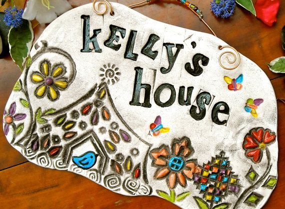 Personalized Custom HOME Plaque - HandMade TO ORDER Rustic House Pottery - Welcome Wall Hanging - New HouseWarming, Wedding Gift. $40.00, via Etsy.