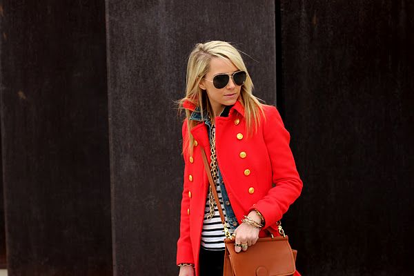 the coat of my dreams. jcrew, double cloth townhouse trench.: Cute Coats, Military Jackets, Style, Colors, Outfit, Red Peas Coats, Red Jackets, Stripes, Red Coats