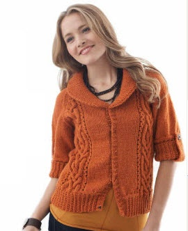 Patons® Classic Wool Cables & Collar Cardigan #knit #pattern
