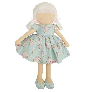 Olive Doll Vintage Blue Floral $48.95 #sweetcreations #baby #toddlers #kids #softtoys #toys #cuddle