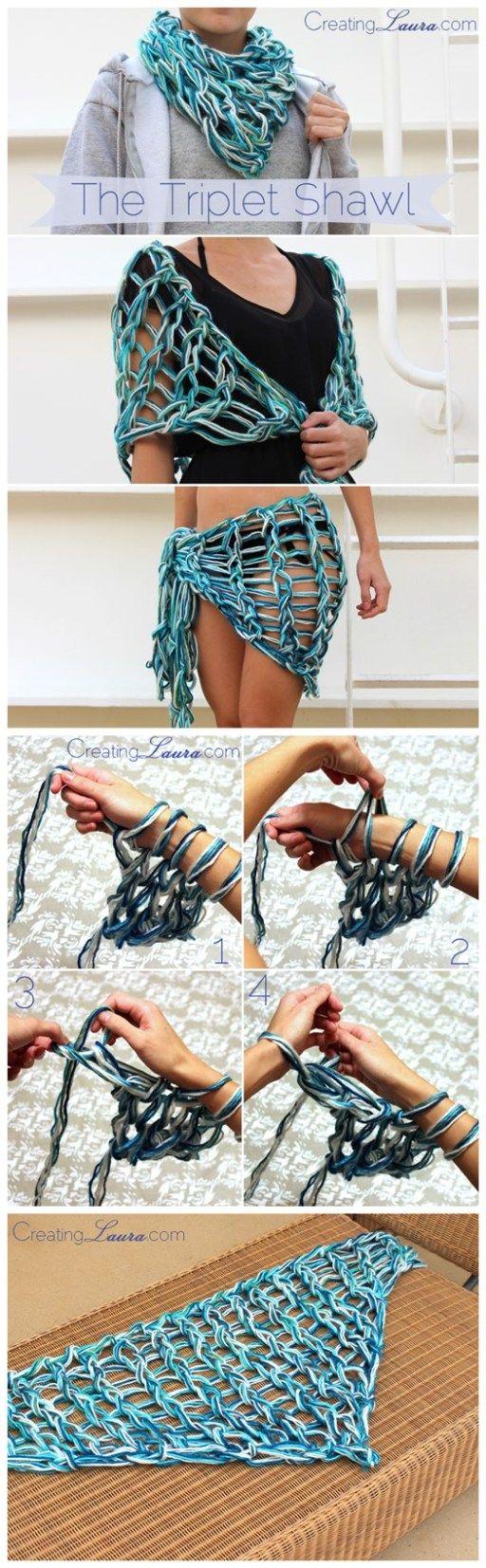 FAZER UM QUADRADO NESSE ESTILO E FAZER VIRAR SAÍDA DE PRAIA!!! DIY Triplet Shawl Free Arm Knitting Pattern | DIY Tag