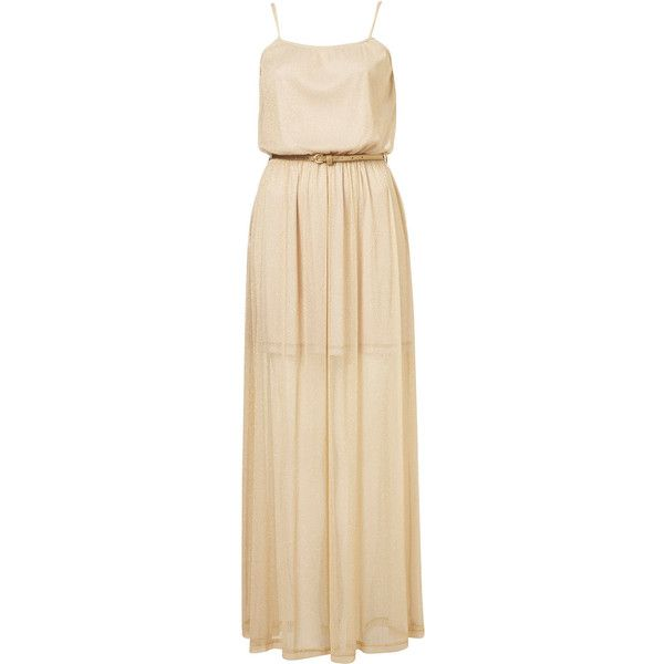 **Metallic Maxi Dress by Coco's Fortune (86 BRL) ❤ liked on Polyvore featuring dresses, gowns, vestidos, maxi dresses, long dresses, mocha, metallic dress, cut out back dress, evening maxi dresses and beige gown