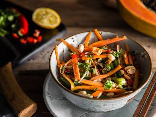 die besten 25 papaya salat ideen auf pinterest papaya rezepte thai salat und fingerfood. Black Bedroom Furniture Sets. Home Design Ideas