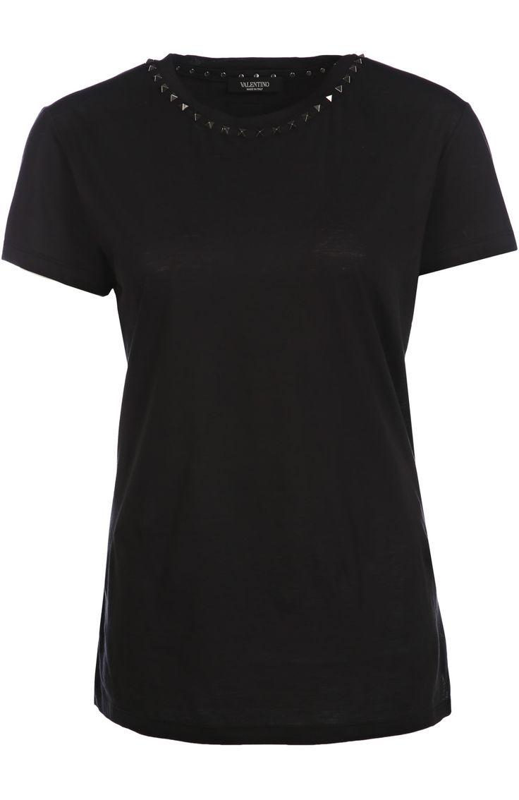 Женская черная хлопковая футболка прямого кроя с заклепками Valentino, сезон FW 16/17, арт. LB0MG03A/2QK купить в ЦУМ   Фото №1