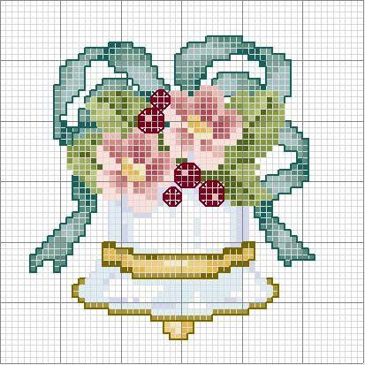 cross stitch chart floral flower bell ribbon bow beautiful