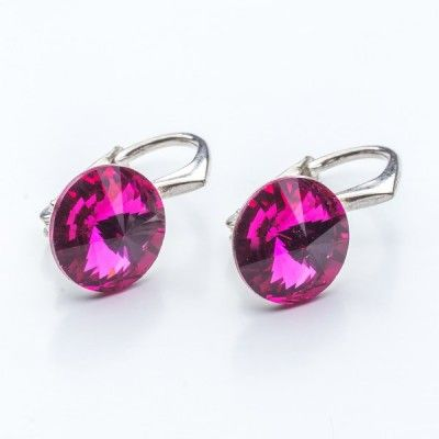 Swarovski Rivoli Earrings 8mm Fuchsia  Dimensions: length: 1,7cm stone size: 8mm Weight ~ 1,85g ( 1 pair ) Metal : sterling silver ( AG-925) Stones: Swarovski Elements 1122 SS39 Colour: Fuchsia 1 package = 1 pair
