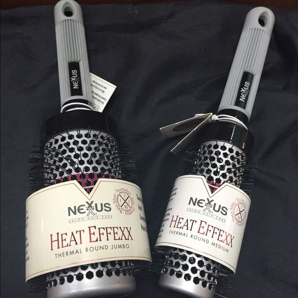 """2 Nexxus Heat Effexx thermal round brushes 1 brush is 2"""" in diameter.  1 is 1.25"""" in diameter. Heat sensitive paint (around the barrel) disappears when the barrel reaches optimum styling temperature. Both are brand new. Nexxus Other"""