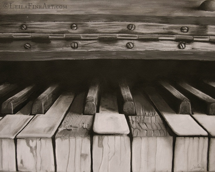 """Hidden"" Acrylic and charcoal on arches paper.  I love how old instruments evoke questions... questions about the people who have played them and enjoyed their music, the places and homes where they've resided, and the many many songs they've heard and how they transformed rooms with emotion and beauty.  This piece is one of my personal favorites. www.facebook.com/jalbersstudio"