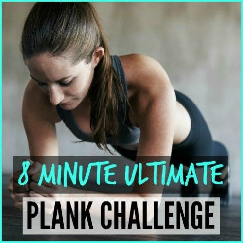 """A fitness woman holding a plank with the words """"8 Minute Ultimate Plank Challenge"""" next to her."""
