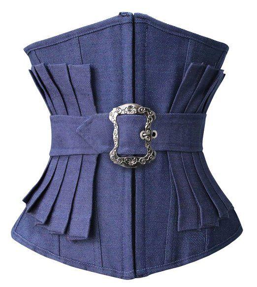 Lucea Women's Fashion Denim Effect Pleated Waist Training Underbust Corset Blue XX-Large