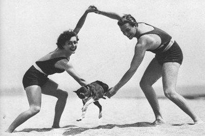 Joan Crawford & Douglas Fairbanks Jr. with their dog, 1929
