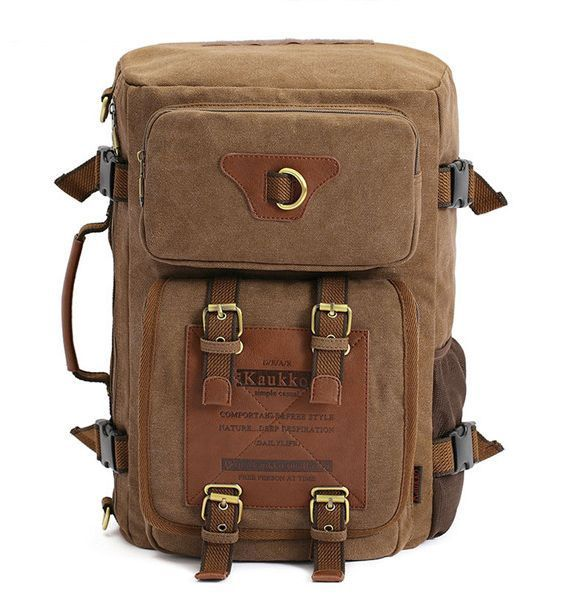 KAUKKO Men Canvas Backpack Shoulder Crossbody Handbag Sling Bag Rucksack FH05 #Kaukko