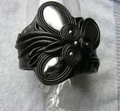 """Купить Браслет """"Сумерки"""" - чёрный, браслет из кожи, украшения ручной работы, натуральная кожа"""