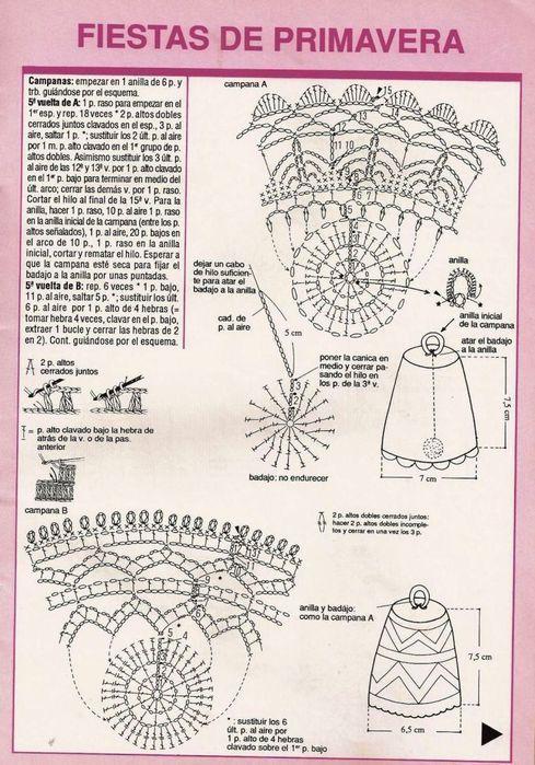 zvoneček 4 schema, des cloches au crochet