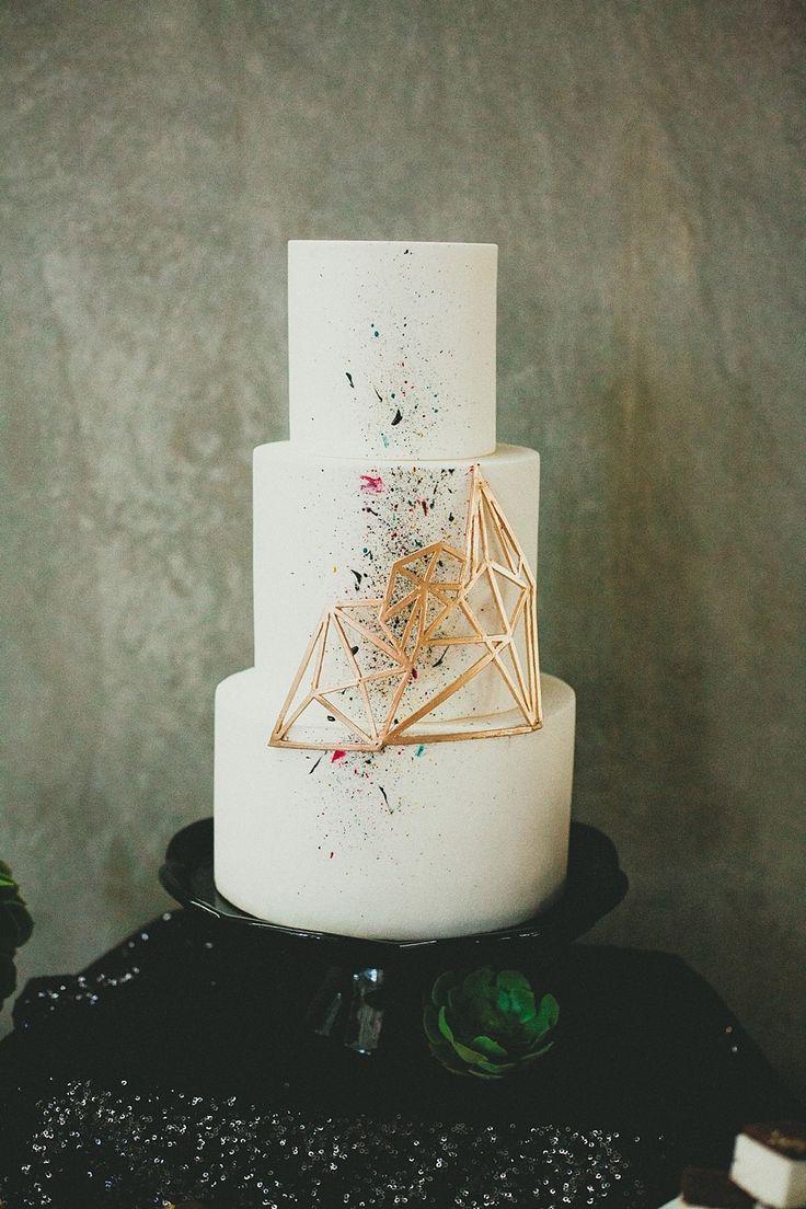 Modern Geometric Wedding Cake. Photography: Melissa Biador - www.melissabiador.com
