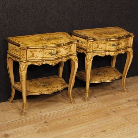 1300€ Pair of lacquered, gilded and painted French bedside tables. Visit our website www.parino.it #antiques #antiquariato #furniture #golden #antiquities #antiquario #comodino #painted #lacquered #tavolino #nightstand #table #night #decorative #interiordesign #homedecoration #antiqueshop #antiquestore #style