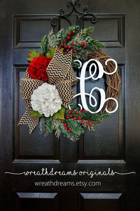 BEST SELLER!  Christmas Grapevine Wreath with Burlap. Christmas Wreath. Holiday Wreath. Winter Wreath. Door Wreath. Monogram Wreath.