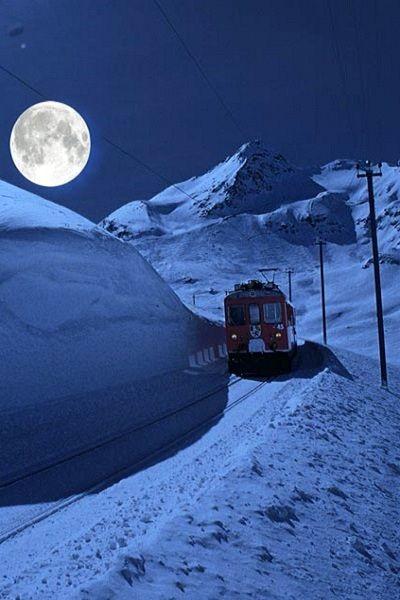 Climb at Full Moon the Bernina with the Rhaetian Railway, Switzerland