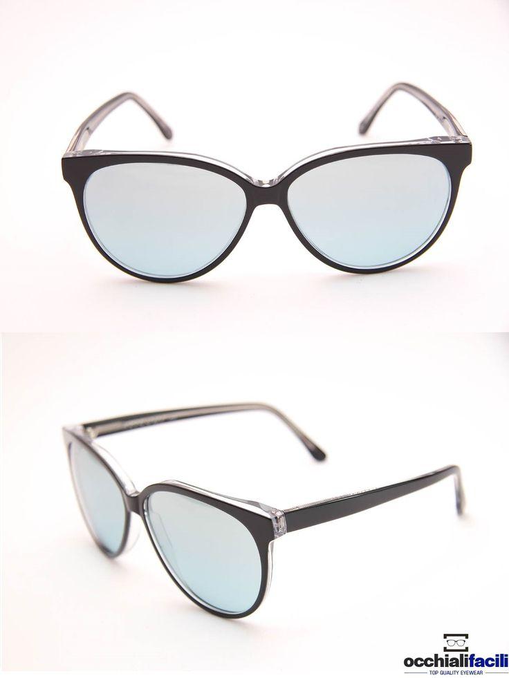 Occhiali da sole G-Sevenstars Alicudi NY  in celluloide nero lucido con lenti celeste chiaro, forma tonda. http://www.occhialifacili.com/prodotto/occhiali-da-sole-g-sevenstars-alicudi-ny/
