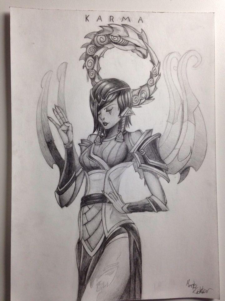 Lol Karma pencil drawing