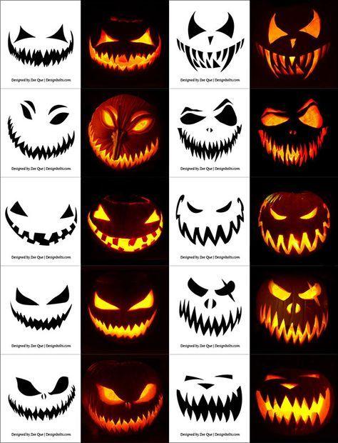 290+ gratis druckbare Halloween Kürbis Carving Schablonen, Muster, Designs, Gesichter & Ideen