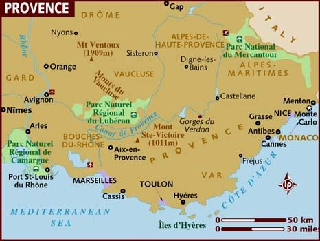 Map of Provence and Riviera