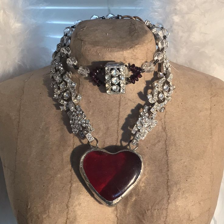 """""""My Heart"""" one of a kind assemblage necklace by Alpha Female Studio."""