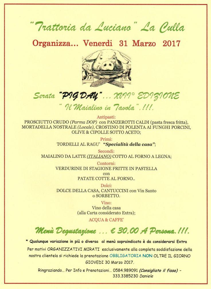 PIG DAY XVII° Edizione Il Maialino in Tavola da da Ristorante Trattoria Da Luciano a La Culla, Camaiore