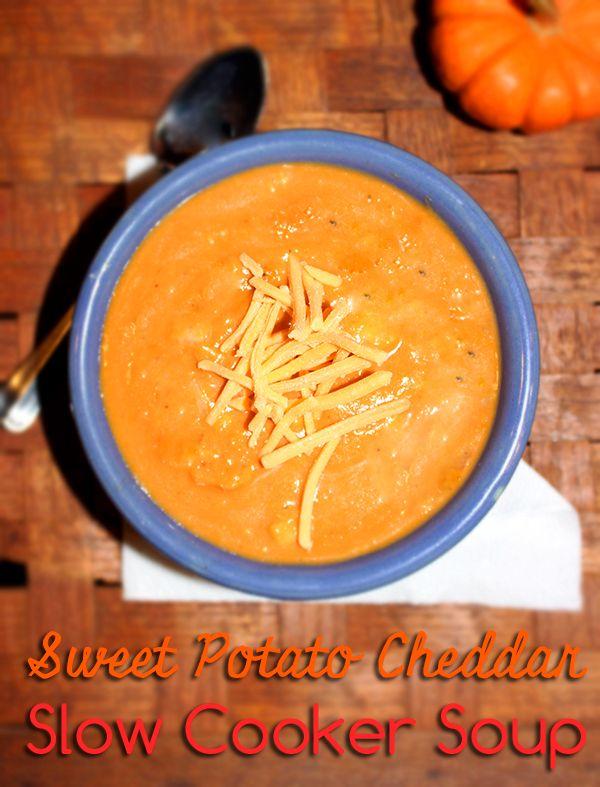 Sweet Potato Cheddar Soup Recipe #Crocktoberfest2013