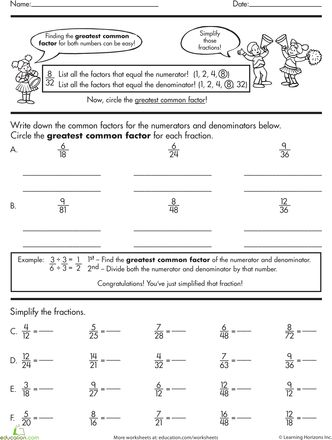 Worksheets: Basic Fractions: Simplifying  Fractions, Reduce fractions using GCF