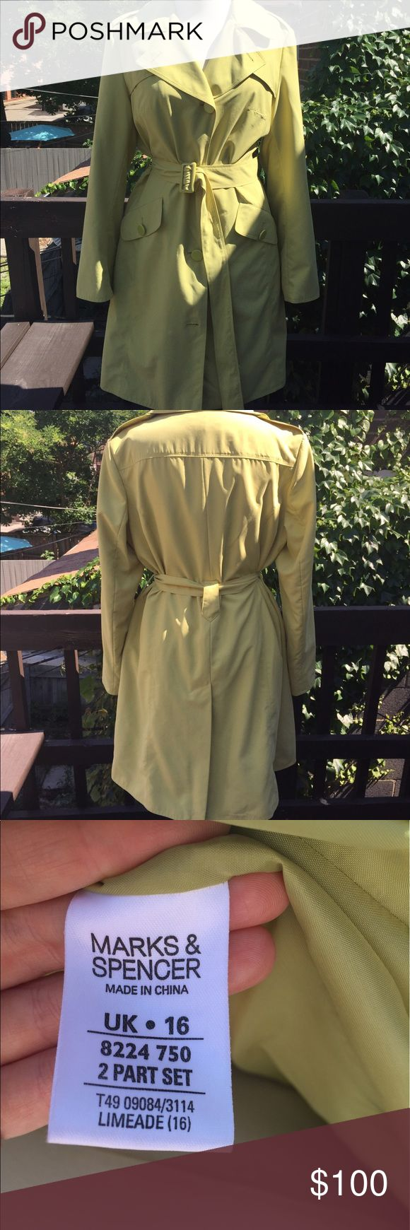 Trench Beautiful trench coat, super cute and stylish, amazing color, size 16 UK but it fits 12 US, feel free to ask for additional measurements. Marks & Spencer Jackets & Coats Trench Coats