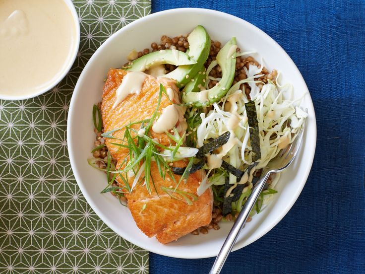 Wheat Berry Bowl with Salmon and Miso Sauce recipe from Food Network Kitchen via Food Network