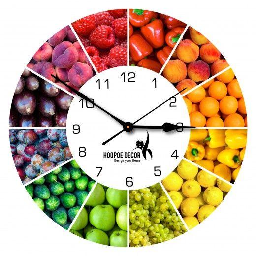 Hoopoe Decor Fruit Basket Trendy Designer Wall Clock