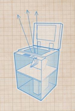 Een ouderwets ogende kopieermachine maakt van je tekening een levendige animatie. In de interactieve installatie Godmode zwemmen fantasievolle figuren over het plafond.