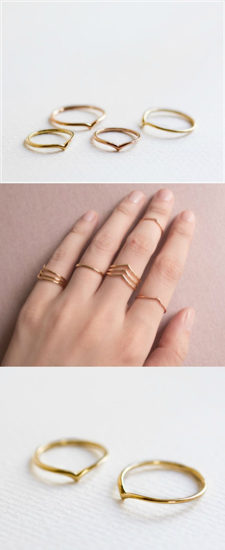 A set of 2 classic chevron rings! One above the knuckle and one below it. The glossy finish gives it a chic and minimal look, minimalistic jewellery, golden - a unique product via en.dawanda.com