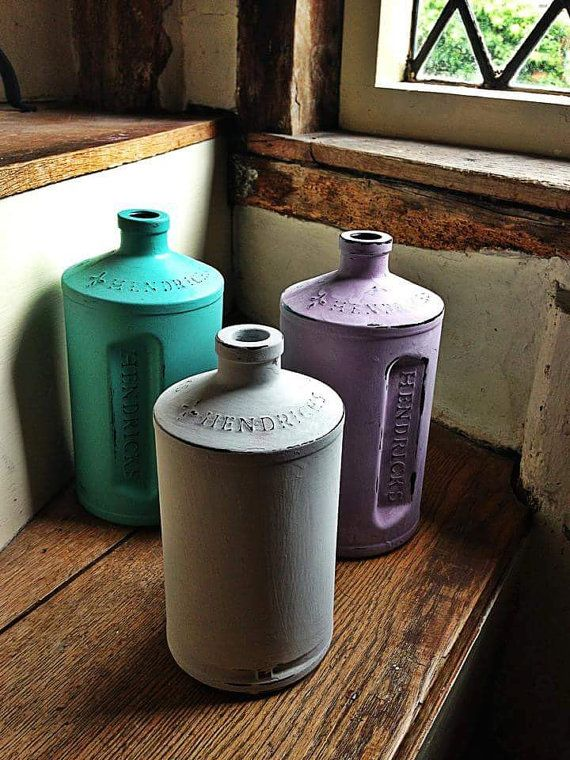 Hendricks Gin bottles handpainted in Annie Sloan by TheFoxandAlice