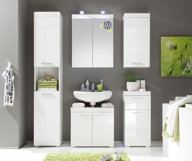 Die besten 25+ Waschbeckenunterschrank weiß hochglanz Ideen auf - badezimmerm bel set holz