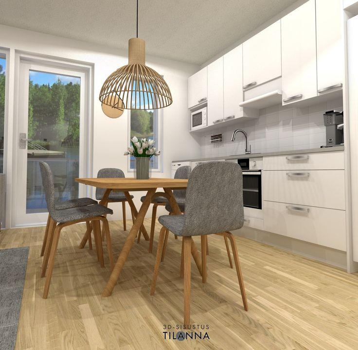 3D- visualisointi ja sisustussuunnittelu uudiskohteeseen/ kerrostalon keittiö/ valkoiset maalatut ovet, harmaa taso, secto-valaisin/ VRP Rakennuspalvelut Oy, Asunto Oy Jyväskylän Äijälänsalmen Kara, ennakkomarkkinointi/ 3D-sisustus Tilanna