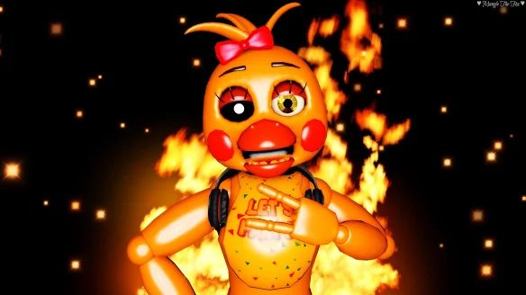 toy chica with fire in the background  Fnaf, Five nights at freddy's, Five night