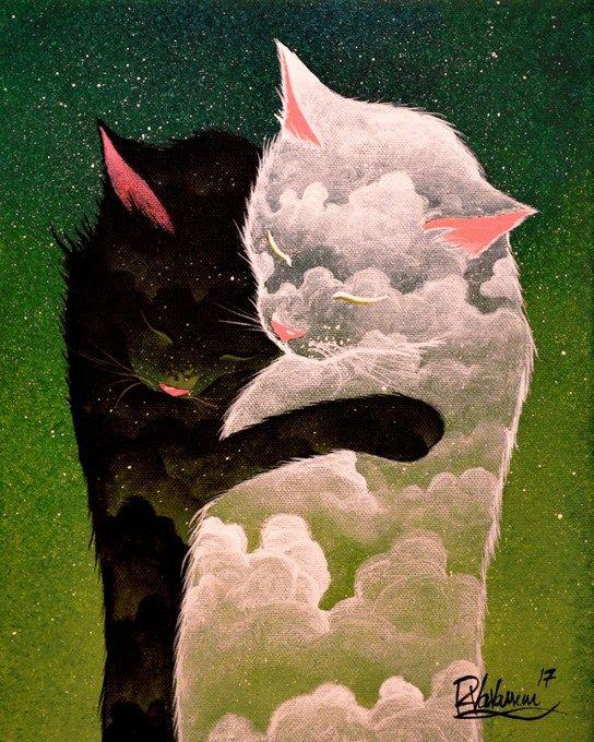 """Dark cloud, light cloud"" Original painting by Raphaël Vavasseur"