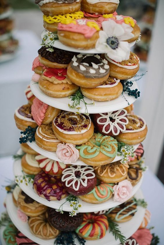 While this is sort of cute, it looks messy to me for a formal wedding  too much variety/hodge-podge. I like the donuts though fairly simple, very cute